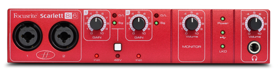 Scarlett 8i6 usb audio interface - front view