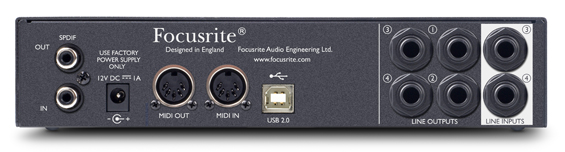 Focusrite Scarlett 8i6 back view